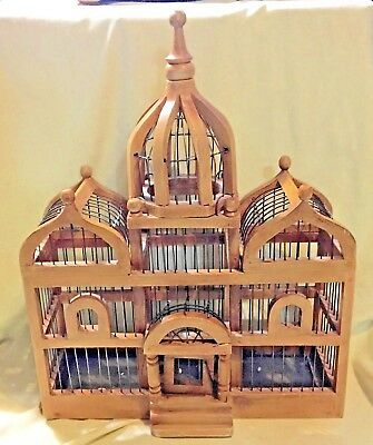 Vintage Wood & Wire Taj Majal Style Bird Cage - Victorian Style