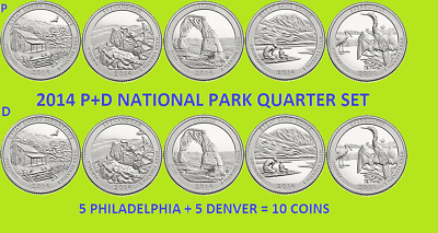 2014 P & D America the Beautiful Quarter 10 Coin Set