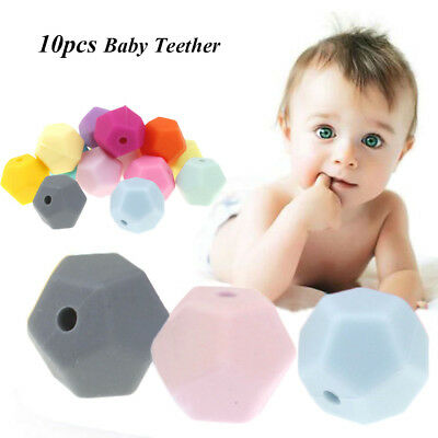 10pcs/lot Polyhedral Type Bead Silicone Baby Teether DIY Necklace Bracelet Beads