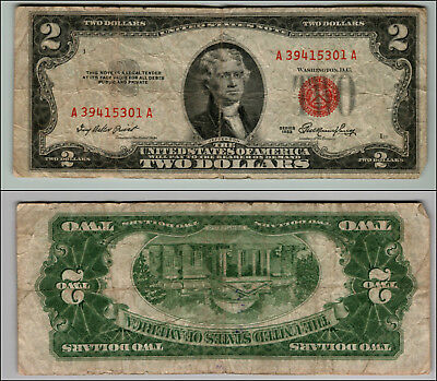 1953 $2 Dollar Bill  Us Note Legal Tender Paper Money Currency Red Seal P866