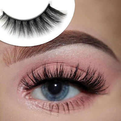 5 Pairs Black Faux Mink False Eyelashes Natural Cross Long Thick Fake Eye Lashes