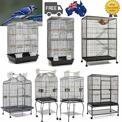 Pet Bird Cage Parrot Aviary Canary Budgie Finch Perch Black w/ Perches Portable