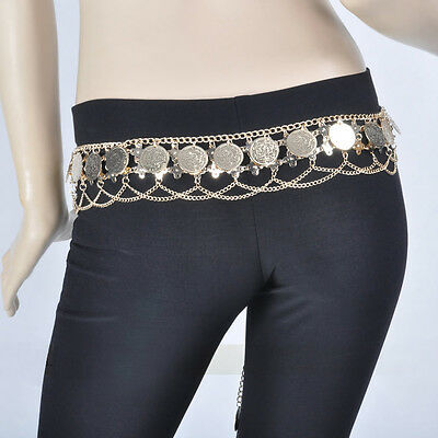 New Belly Dance Costume Coins Tribal Hip Scarf Belt Gold/Silver Bollywood 2color