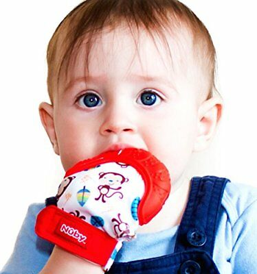 Nuby Soothing Baby Teething Mitten Chewing Glove with Hygienic Travel Bag, Red