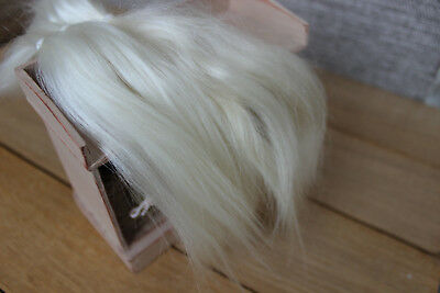 "Mohair doll hair 7-9"" 10 gr  White/cream organic mohair locks angora Goat Reroot"