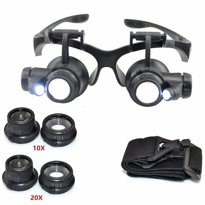 10X / 20X LED Light Magnifier Glasses Type Eye Glass Loupe for Watch Repair SA