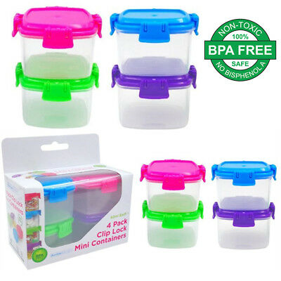 Plastic 62ML Mini Clip Lock Storage Food Container Clear Craft Box Color Lids