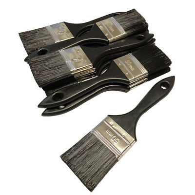 """2""""  Budget Paint Brushes Synthetic Black Bristle Throw away Bulk 50mm Cheap 2in"""