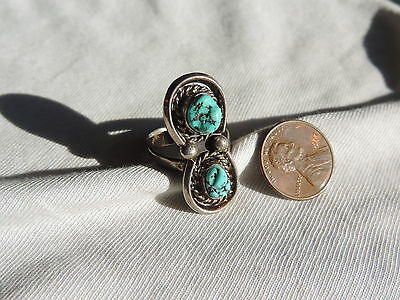 Vintage Jewelry Sterling Silver & Turquoise Knuckle Ring sz 7 (id591)