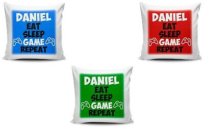 Personalised Eat Sleep Game Repeat Funny Cushion Cover Variation
