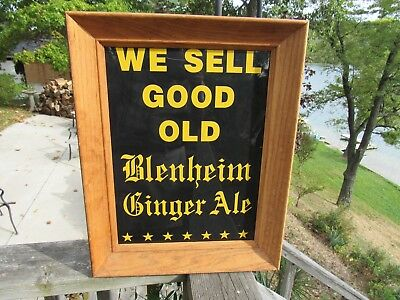 VINTAGE ORIGINAL BLENHEIM GINGER ALE DEALER DISPLAY SIGN CAROLINA'S c1903 - 1950