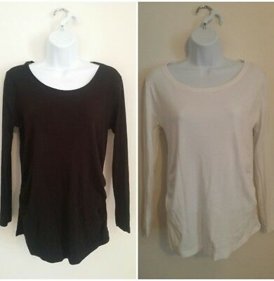 Ladies pair of basic black & white long sleeved maternity tops size 12