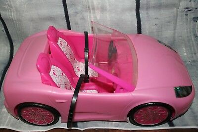 Barbie Glam Pink Convertible Car Mattel 2010 Sports Car 2 Seats with Seat Belts