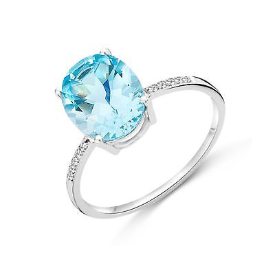 93906de99a7501 Miore Ladies 9kt White Gold Diamond and Sky Blue Topaz Ring - Size P M9085R6