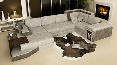 Xxl Design Big Sofa Ecksofa Couch Wohlandschaft U Form Leder Textil