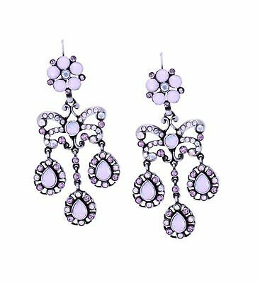 V&A INSPIRED! Pink Garland Triple Droplet Earrings Antiqued Silver Plated