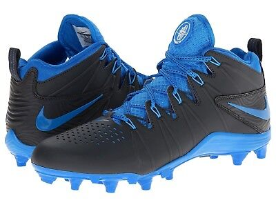 Mens NIKE HUARACHE 4 LAX Lacrosse Football Cleats 616296 040 ~ BLACK BLUE 11.5