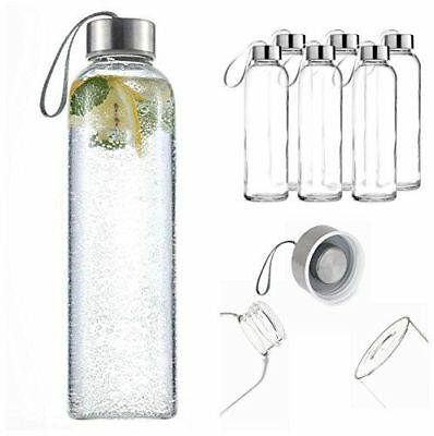 Great Quality Glass Water Bottle 6 Pack 18oz Stainless Steel Caps Carry Loop