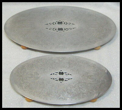 """2 Epns England Silver Plated Trays Trivets Unknown Mark Bakelite Feet 13"""" & 9.5"""""""