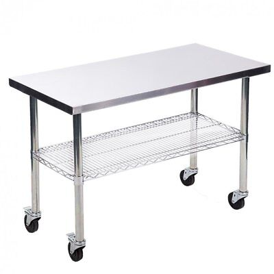 """24""""x48"""" Stainless Steel Kitchen Work Table w/ Wire Lower Shelf and Wheels"""