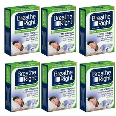* (6) 26 ct Breathe Right Strips - Extra Clear Sensitive Skin - 156 ct Total NEW