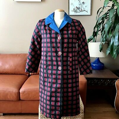 Vintage Womens Embroidered Coat Geometric Square Pattern Long Red Blue Black