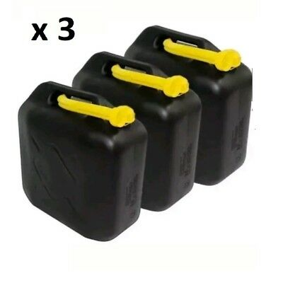 3 X 20L Black Plastic Fuel Jerry Can Petrol Diesel Water 20 Litre With Spout New
