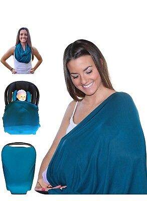 Breastfeeding Stretchy Cotton Nursing Scarf Cover & Baby Car Seat Cover in One
