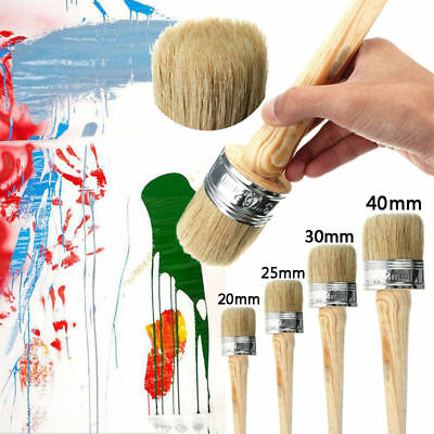 4 BRUSHES 40 30 25 20mm PAINT BRUSHES SHABBY CHIC PAINT WAX PURE BRISTLE PAINTER