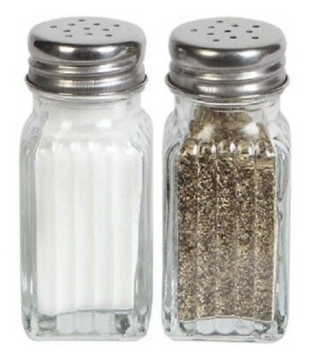 1 X Glass Salt & Pepper Shaker 2-ct. Sets Clear Glass 3.75-in.