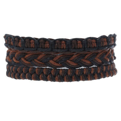 icon 3 Plaited Cord Bracelet Set in Brown