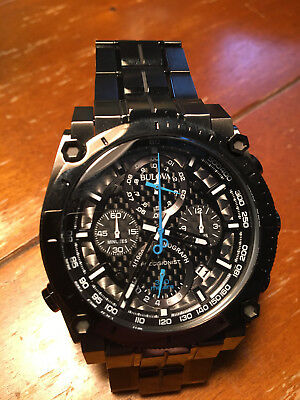 Bulova Men's Chronograph Precisionist, Black Out, Blue Accent, 98B229