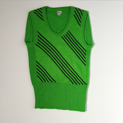 Vintage 70s Green Striped Sweater Vest 6 7 8 Yrs Unisex Kids FREE SHIPPING
