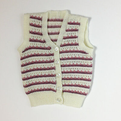Vintage 90s Granny Cardigan Vest Hand Knitted Striped 2T 3T 4T 5T FREE SHIP