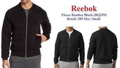New 2018 Men's Reebok Classics Fleece Bomber Jacket BQ2591 Small Black $85