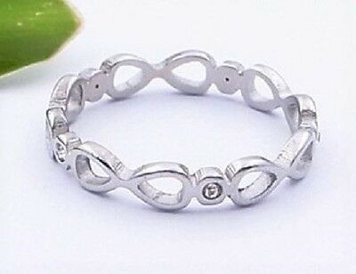 Midi Knuckle Silver Stainless Steel Stackable CZ Ring Small Size 3 4 5 / F H J