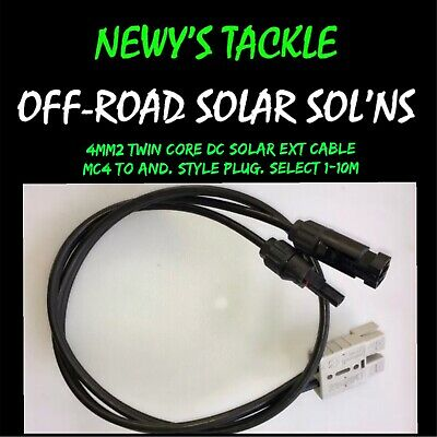 4mm2 Twin Core DC Solar Ext. Cable. MC4 to Anderson Style Plug. Select 1-10m