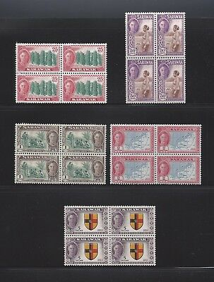 SARAWAK 1950 181/5 MNH Blocks of 4 Cat £476
