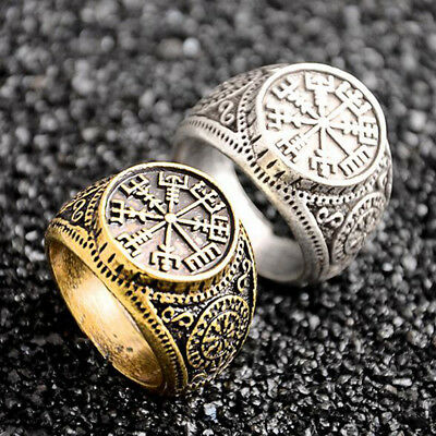 Valknut Odin 's Slavic Symbol of Norse Viking Compass Ring Men's Jewelry