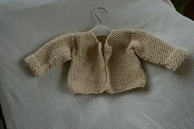 hand knitted aran style baby cardigan 3 - 6 months cream