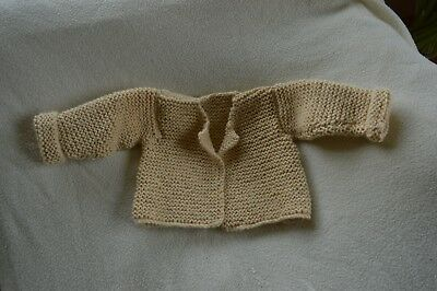 hand knitted aran style baby cardigan cream 3 - 6 months
