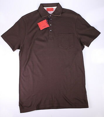 86d893f894f NWT NEW * ISAIA * 2017 Solid Brown Cotton Polo Shirt~ Small ...
