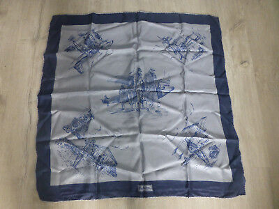 ancien carre de soie Burberry decor aviateur avion bleu gris vintage retro