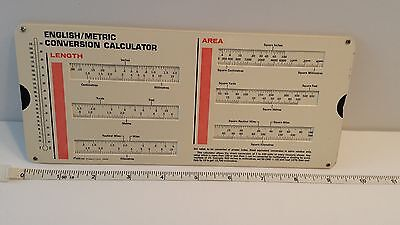 Vintage METRIC CONVERSION Slide CALCULATOR Length Area Volume Weight