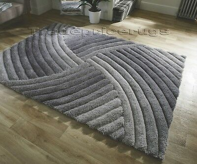 Small - Large Heavyweight Thick Soft Carved Pile Silver Grey 3D Verge Furrow Rug