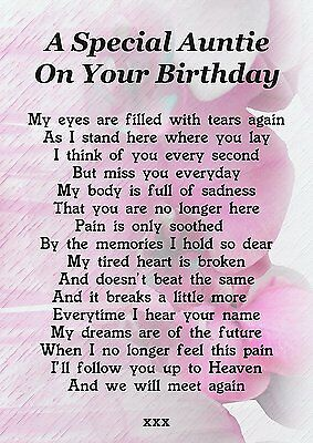 Auntie On Your Birthday Memorial Graveside Poem Card With Free Ground Stake F206