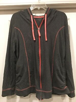 Motherhood Maternity Gray And Neon Orange Zip Hoodie Size XL