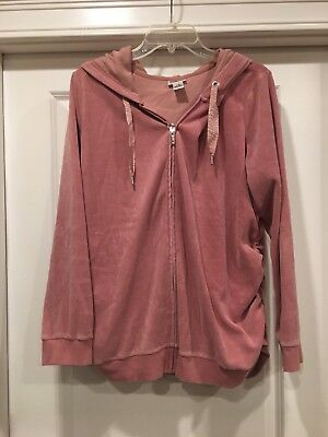 Motherhood Maternity Rose Ruched Velure Zip Hoodie Sweatshirt Size XL