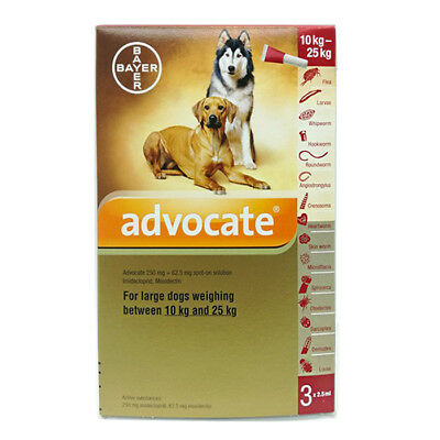 Advocate For Dogs 10-25 kg 2.5 ml 3 tubes Treatment Of Mites In Ear EXP 11/2018
