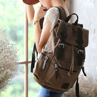 Brown RETRO CANVAS LEATHER BACKPACK RUCKSACK BAG School University Student S260